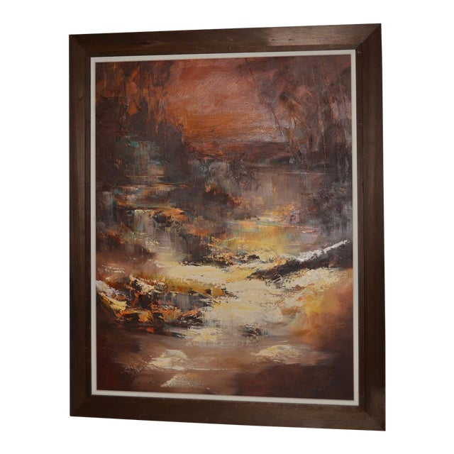 """Don Clausen """"Warm Winter Sky"""" Abstract Landscape Oil Painting C.1963 For Sale"""