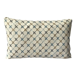 Embroidered Linen Lumbar Pillow For Sale