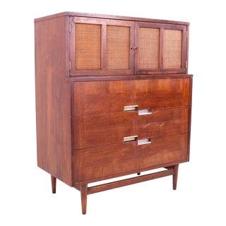 Mid Century Merton Gershun for American of Martinsville X Inlay Walnut 9 Drawer Dresser For Sale