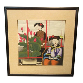 1950s Vintage Japanese Silkscreen Two Woman by a Window Framed Under Glass Signed Print For Sale