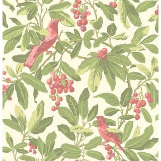 Cole & Son Royal Garden Wallpaper Roll - Olive/Pink For Sale