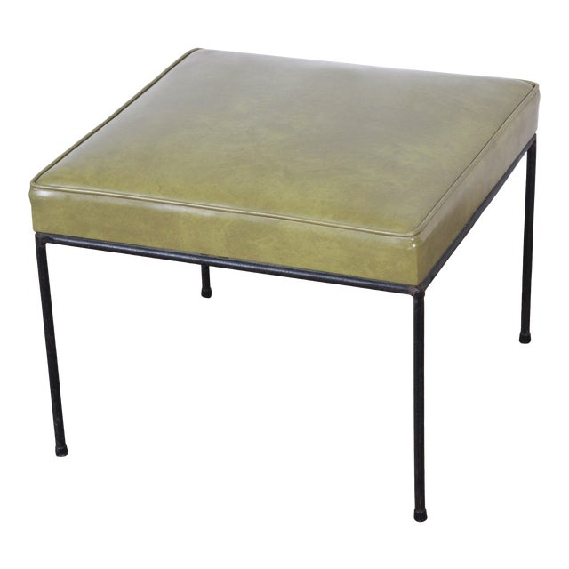 Paul McCobb Upholstered Iron Stool or Ottoman For Sale