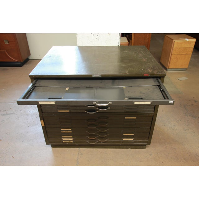 Green Vintage Industrial Metal 20-Drawer Blueprint Flat File by Hamilton Manufacturing Co. For Sale - Image 8 of 10