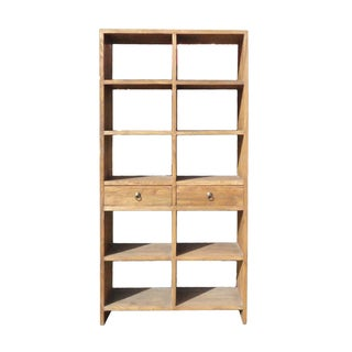 Rustic Wood Open Shelf Bookcase Display Cabinet For Sale