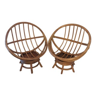 Vogue Rattan Bamboo Papasan Swivel Chairs - a Pair