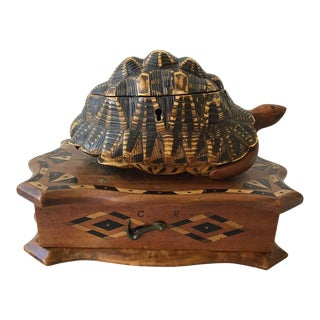 1880s English Carved Wood Turtle Box For Sale
