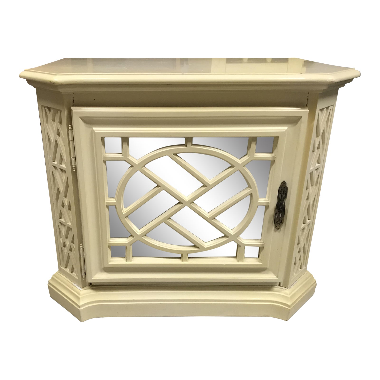 Vintage Fretwork Mirrored Chinese Chippendale Small Cabinet Nightstand - Chairish