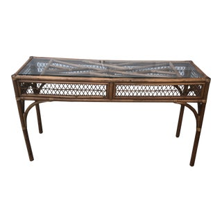 1970s Vintage Bamboo and Glass Console Table** For Sale