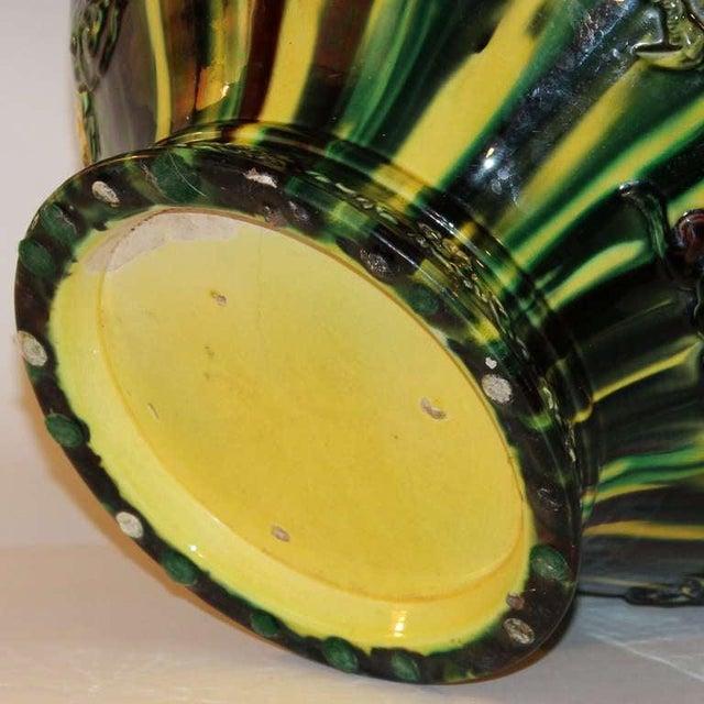 Ceramic Large Awaji Pottery Japanese Sancai Flambe Jardiniere Planter Bowl For Sale - Image 7 of 9
