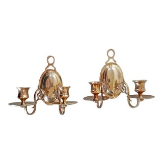 1970s Vintage Solid Brass Two-Arm Candle Sconces - a Pair For Sale