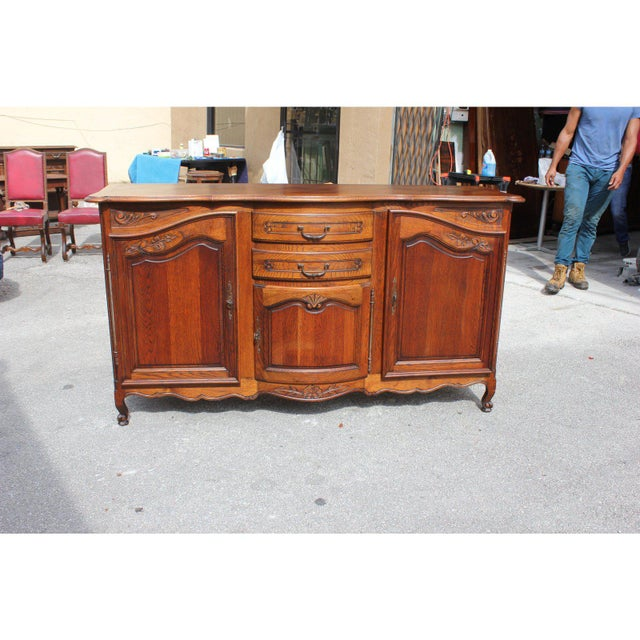 1900s French Country Solid Oak Sideboard / Buffet For Sale - Image 9 of 13