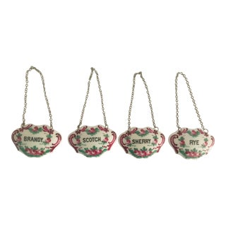 Mid 20th Century French Porcelain Liquor Tags - Set of 4 For Sale