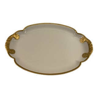 Theodore Havilland Large Scalloped Design Heavy Gold Edge Platter For Sale