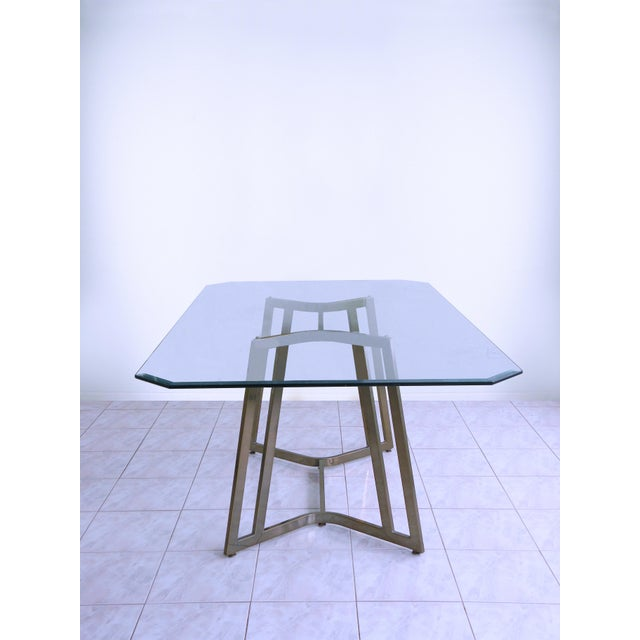 Mid-Century Modern Mid-Century Modern Mastercraft Space Age Brass & Glass Dining / Conference Table For Sale - Image 3 of 8