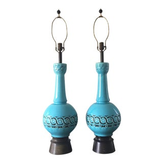 Mid-Century Glazed Turquoise Lamps - A Pair For Sale
