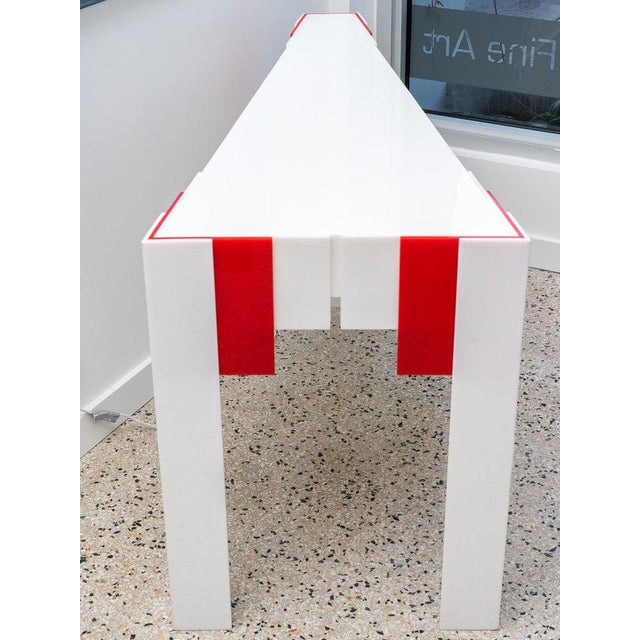 Lucite Console Table Red and White 1970s Art Deco Revival For Sale - Image 4 of 13