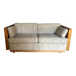 Milo Baughman Style Brass and Wood Case Loveseat For Sale
