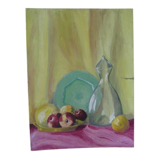 Vintage Vibrant Acrylic Still Life Painting For Sale