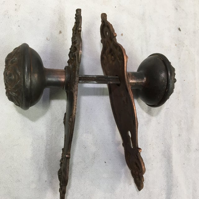 Antique Style Victorian Filigree Copper Finish Back Plates and Doorknobs For Sale - Image 10 of 11