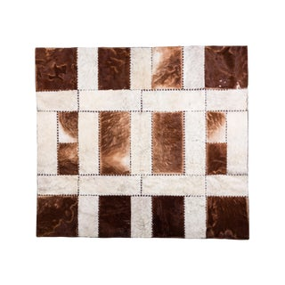 "Aydin Cowhide Patchwork Accent Area Rug - 6'0"" x 6'7"" For Sale"