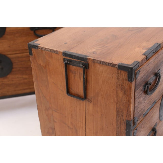 Pair of Tansu Bedside Tables For Sale - Image 9 of 13