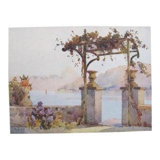 1905 Original Italian Print - Italian Travel Colour Plate - Limonta, Lago DI Como For Sale