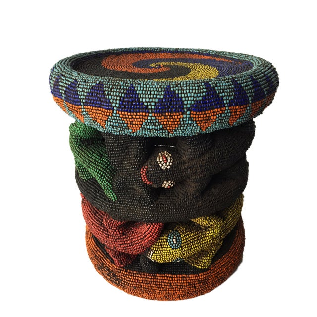 """Beaded Wood Bamileke Leopard Stool /Table Cameroon 8.5'""""h For Sale - Image 11 of 13"""