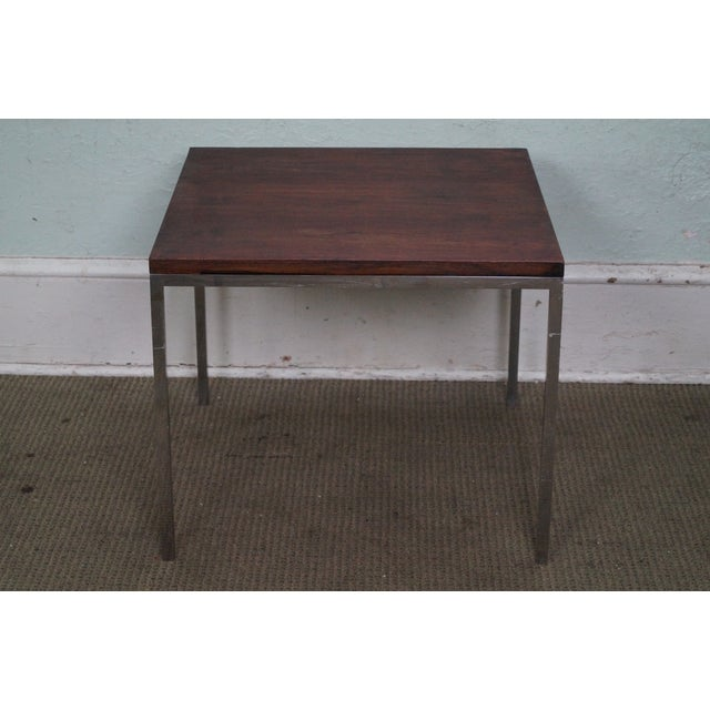 Mid-Century Square Chrome Rosewood Side Table - Image 2 of 10
