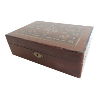 Large Antique Inlaid Style Jewelry Box For Sale