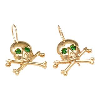 Tsavorite Skull & Cross Bone Earrings For Sale
