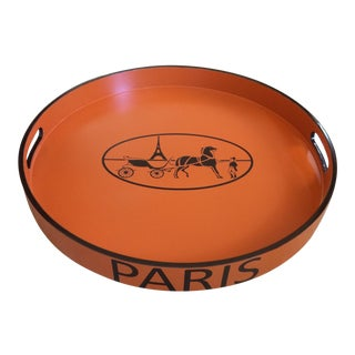 "Hermès Orange Paris Equestrian 21"" Serving Tray Lacquered For Sale"
