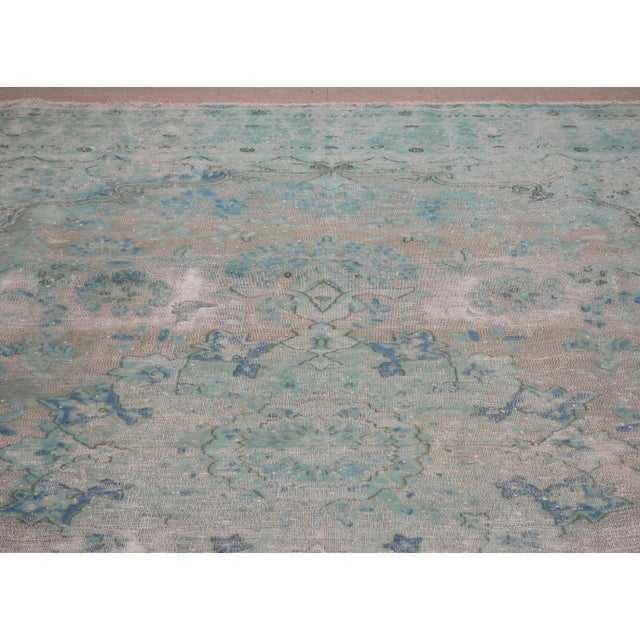 "Boho Chic 1940s Boho Chic Persian Turoquoise Wool Kerman Rug - 9'10""x12'10"" For Sale - Image 3 of 7"