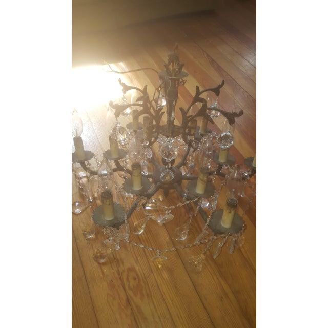 Antique 12-Light Bronze & Glass Crystal Chandelier - Image 8 of 8