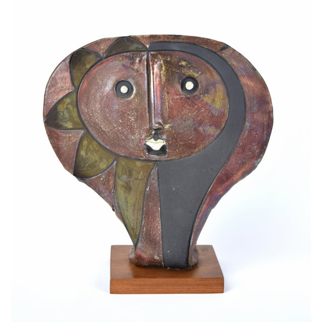 Doug Delind (American, b. 1947) Raku pottery sculpture, 1980, mounted to wood plinth, incised signature and date verso....