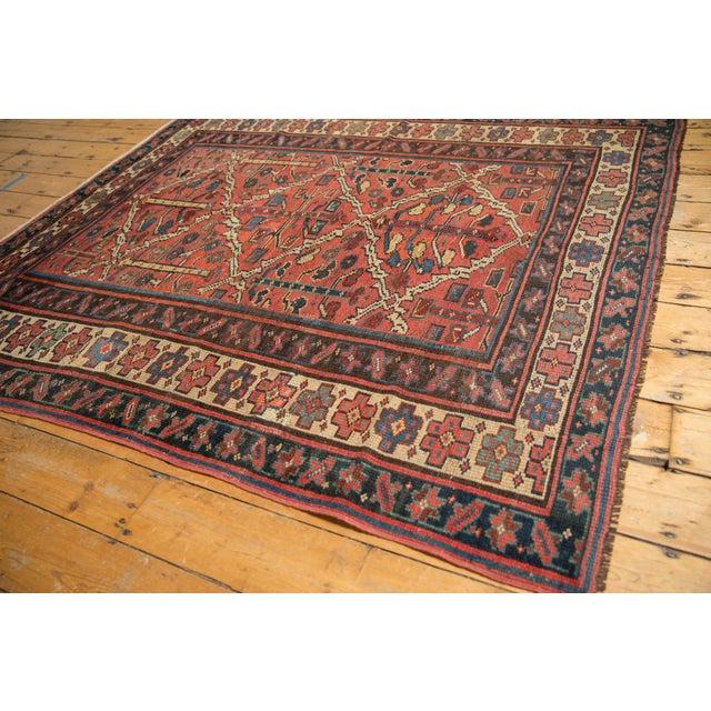 "Blue Vintage Kurdish Square Carpet - 5'5"" X 6'2"" For Sale - Image 8 of 12"