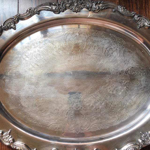 Reed & Barton Reed & Barton El Greco Large Silverplated Handled Serving Waiter Tray For Sale - Image 4 of 13