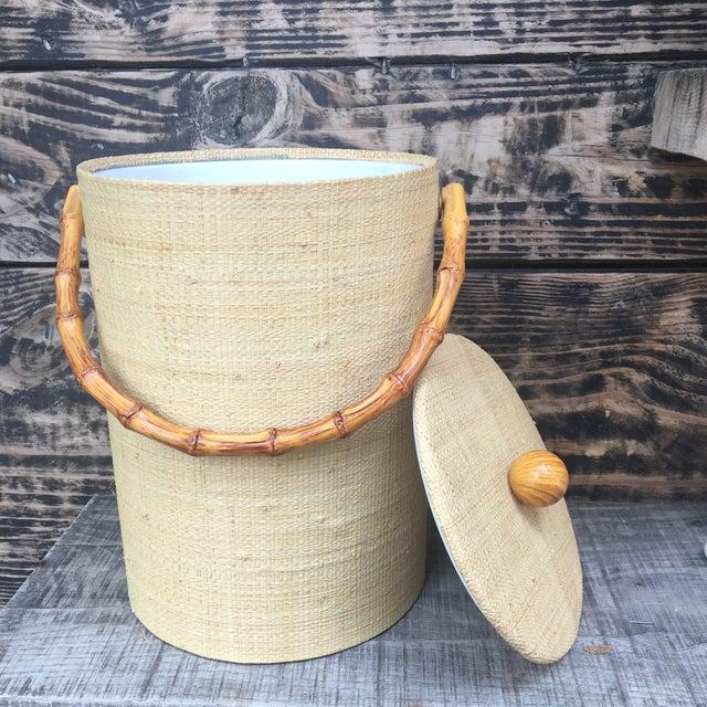 Mid-Century Modern Boho Tiki Ice Bucket With Bamboo Handle For Sale - Image 4 of 6