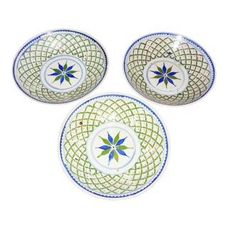 Antique Chinese/Singaporean Plate Bowls - Set of 3 For Sale