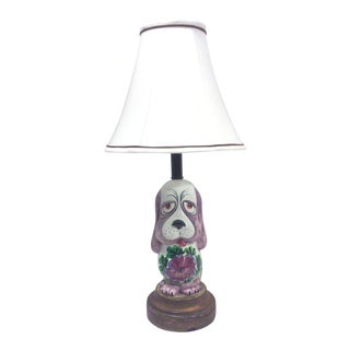 Hand Painted Ceramic Dog Accent Lamp