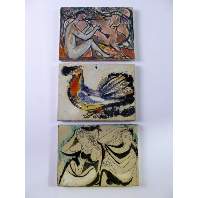 1950s Swiss Modern Pottery Wall Plaques by Philippe Lambercy - Set of 3 For Sale - Image 13 of 13