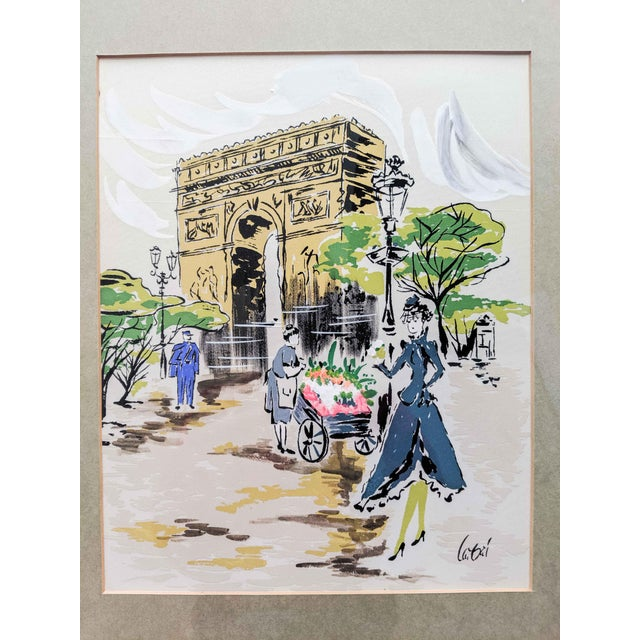 Vintage French Artwork Paint on Silk of Paris Scene in Wood Frame. Signed For Sale - Image 4 of 7