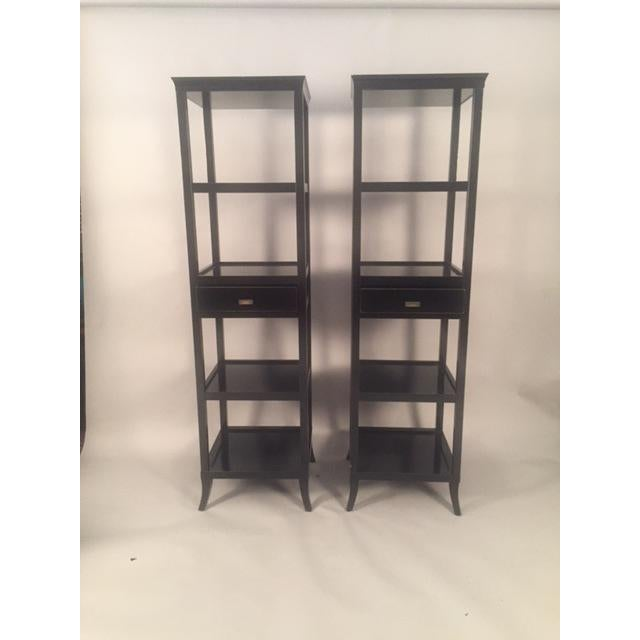 Mahogany Contemporary Wood Black Lacquered Etagere Shelves - A Pair For Sale - Image 7 of 9