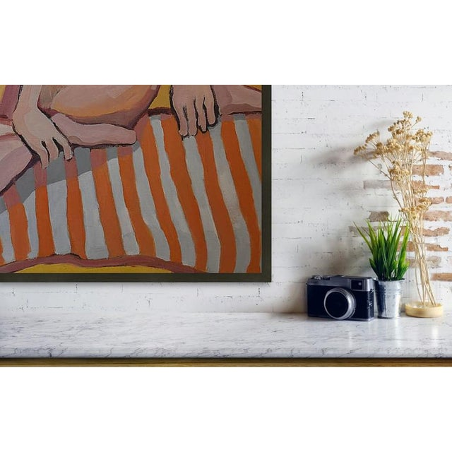 Contemporary 'Nude Lady on Orange Throw' Large Oil on Canvas by American Expressionist, George Brinner For Sale - Image 3 of 4
