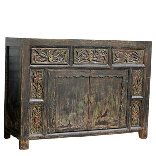 Chinese Carved 3-Drawer Pine Cabinet For Sale