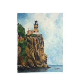 """""""Lighthouse on Coastal Cliff"""" Oil Painting on Canvas For Sale"""