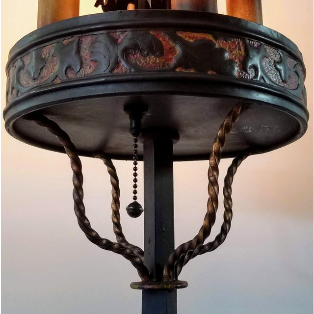 1920s Vintage 1920s Spanish Colonial Revival Monterey Style Polychromed Wrought Iron Floor Lamp Torchiere For Sale - Image 5 of 12