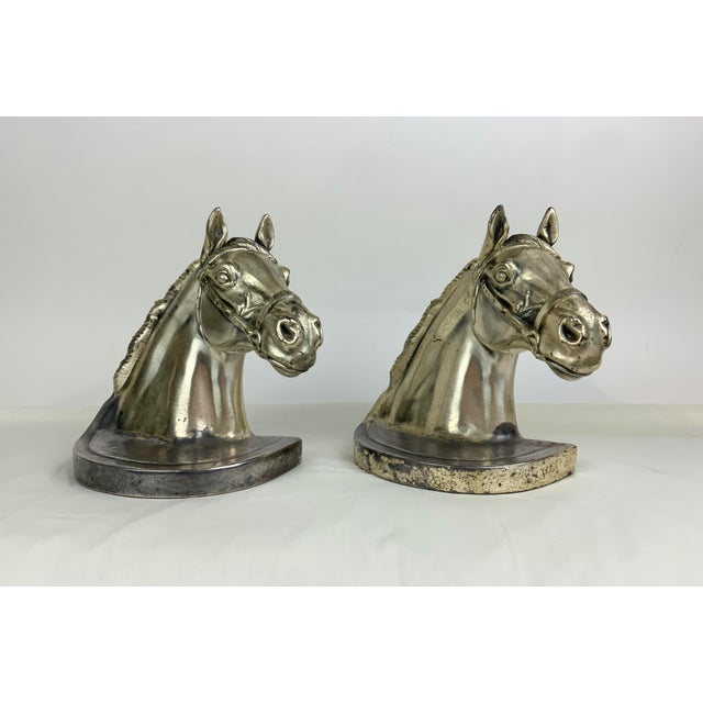Silver Horse Head Bookends - a Pair For Sale - Image 13 of 13