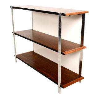 Custom-Made Bookcase in Aluminum and Walnut For Sale