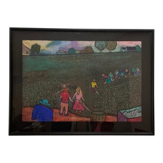 1990 The Pickers Pastel on Charcoal Drawing by George Colin For Sale