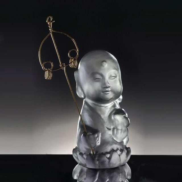 """Contemporary Crystal Buddha, """"Joyous and Worry-Free, Healthy, Happy"""" in Dark Grey For Sale - Image 3 of 3"""